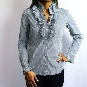 Black & White Striped Shirt w/Ruffles
